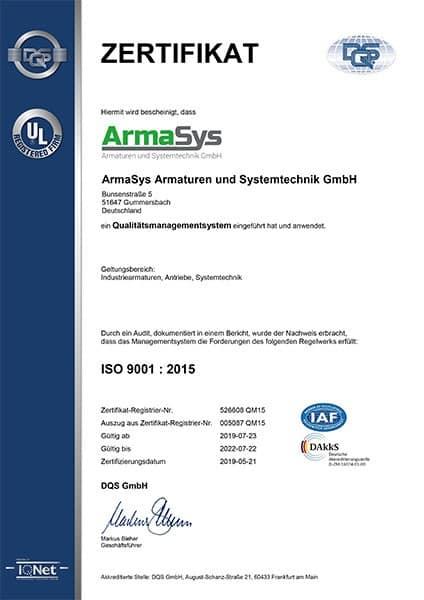 ISO Zertifikat 9001 deutsch